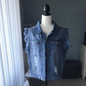 POL Distressed Jean Vest NWOT